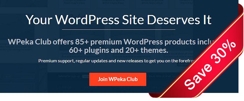 Save 30% on WordPress products at Wpeka Club
