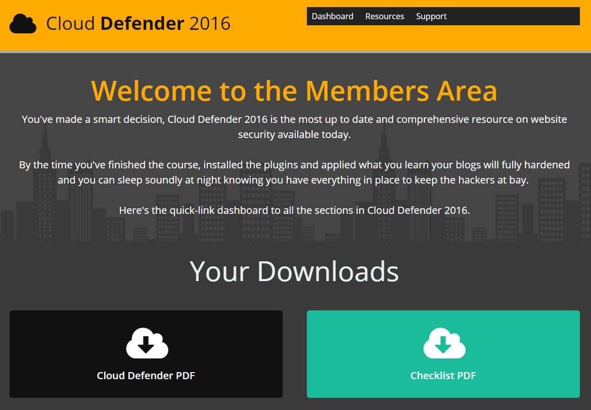 Cloud Defender Member's Area