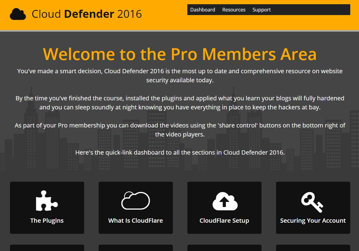 Cloud Defender Pro Members Area