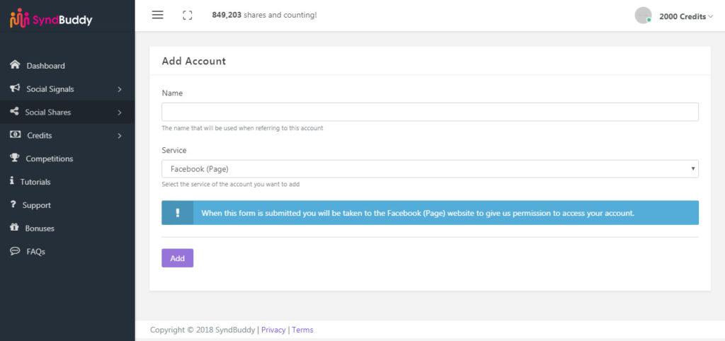 SyndBuddy - Adding Social Accounts